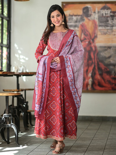 Festive wear ruby red punjabi style printed cotton pant suit