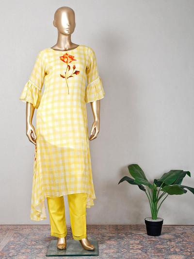 Festive wear yellow printed cotton pant suit