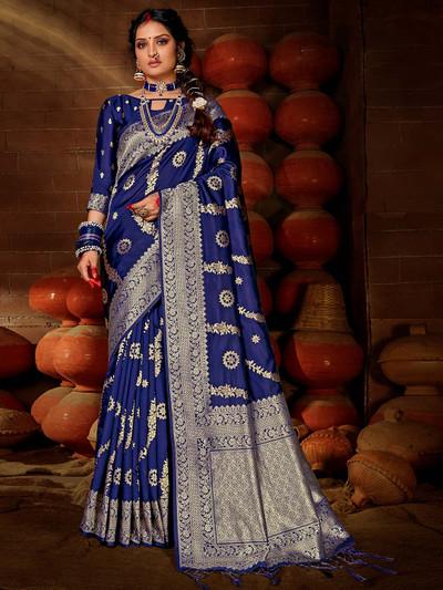 Flamboyant blue colored banarasi silk saree