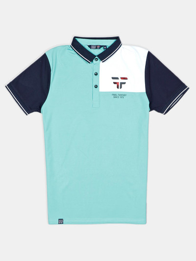 Freeze mint green slim fit cotton printed polo t-shirt