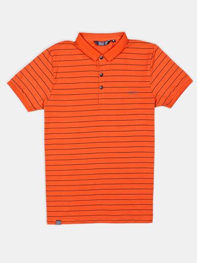 Freeze orange stripe cotton casual t-shirt