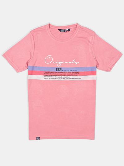 Freeze printed pink cotton t-shirt