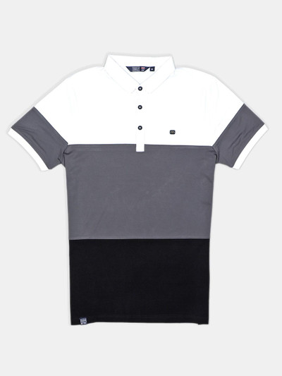Freeze solid casual grey polo mans t-shirt