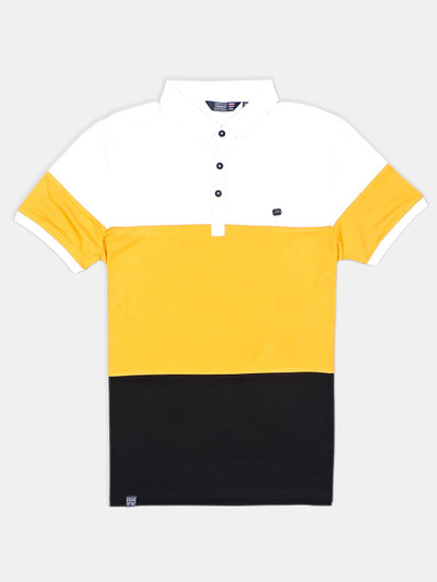 Freeze solid yellow slim fit cotton polo t-shirt