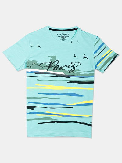 Fritzberg printed sea green casual mens t-shirt