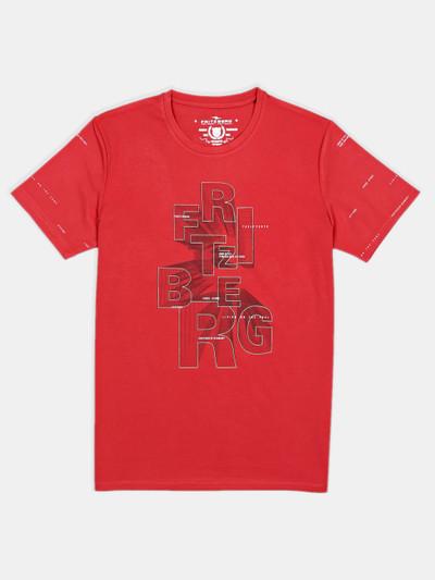 Fritzberg rust orange printed cotton slim fit t-shirt for men