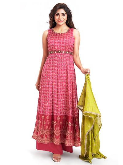 Gallant pink punjabi style salwar kameez for festive wear