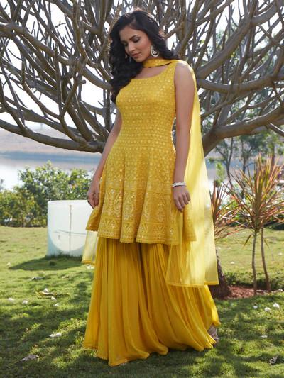 Gallant yellow georgette punjabi style wedding wear sharara suit