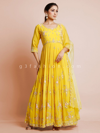 Georgette anarkali suit in yellow color