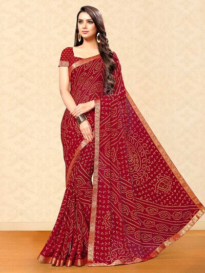 Georgette bandhej saree in maroon color
