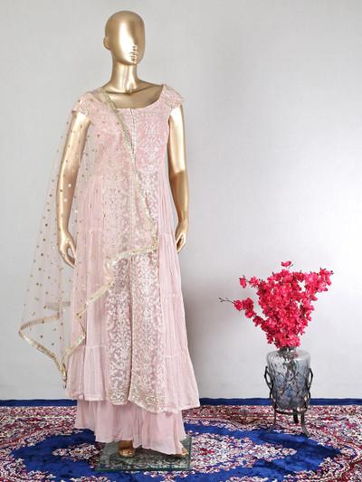 Georgette beautiful pink festive palazzo suit