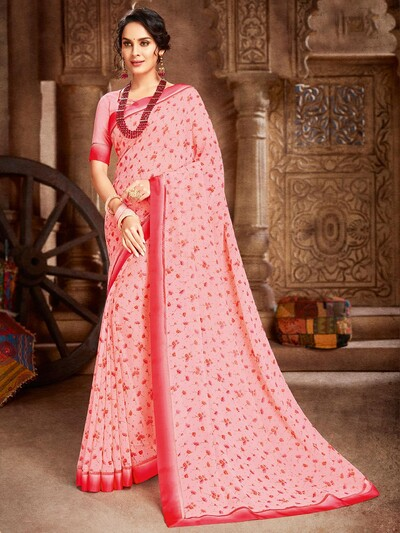 georgette festival wear printed saree in pink