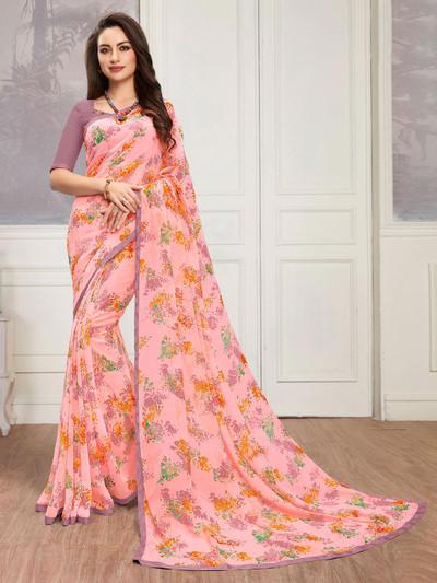 Georgette festive printed sari in pink
