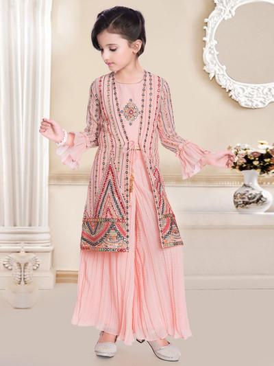 Georgette full sleeves palazzo suit in peach