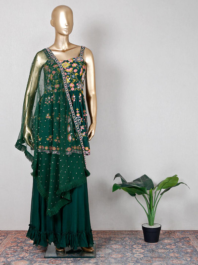 Georgette green sharara suit for wedding