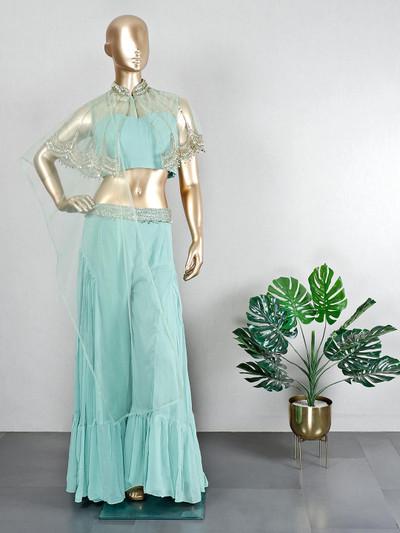 Georgette green wedding wear sharara suit