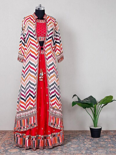 Georgette magenta lehenga style suit for women