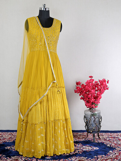 Georgette mustard yellow anarkali suit for wedding