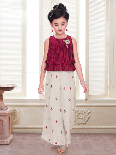 Georgette palazzo suit in maroon
