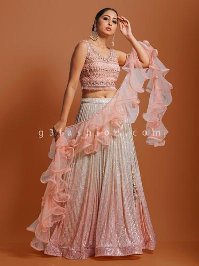 Georgette peach designer sleeveless lehenga choli