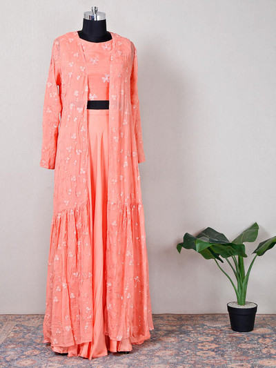 Georgette peach indowestern suit for festive