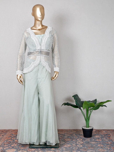 Georgette pista green palazzo suit for wedding