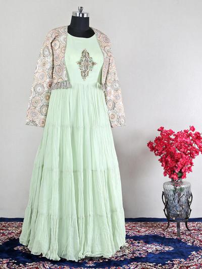 Georgette pista green wedding wear anarkali suit