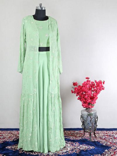 Georgette pista green wedding wear indowestern suit