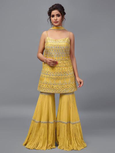 Georgette punjabi sharara salwar suit in yellow