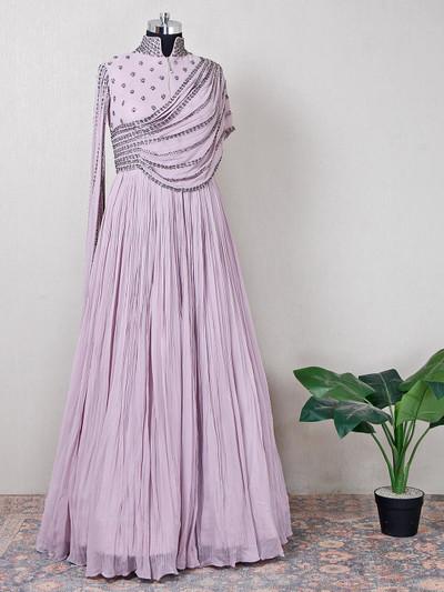 Georgette purple reception wear anarkali suit