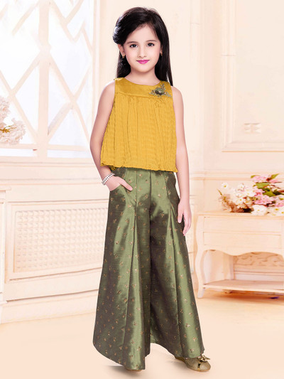 Georgette yellow palazzo suit