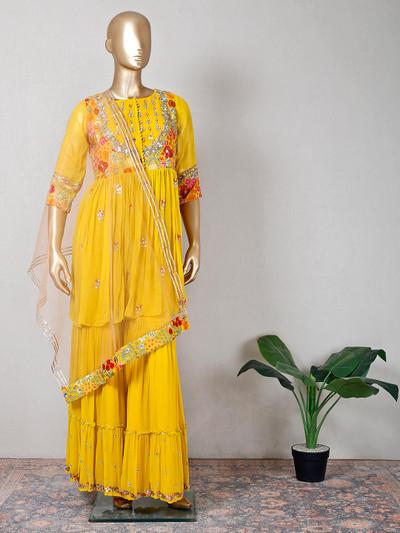 Georgette yellow wedding wear sharara suit