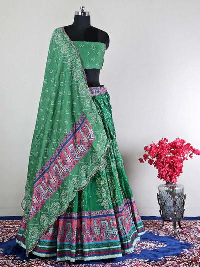 Georgtte green semi-stictched silk lehenga choli for wedding
