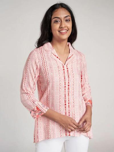 Global Desi latest pink casual wear western top for women