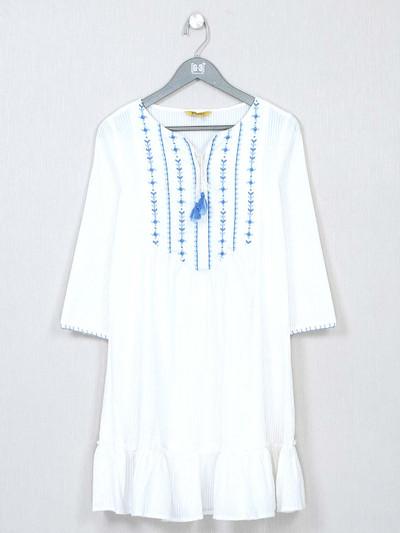 Global Desi thread work white top for women