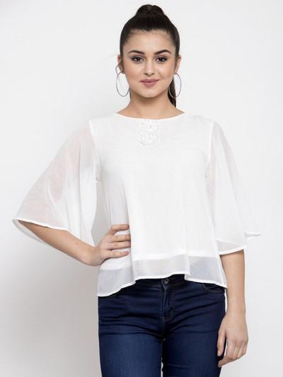 Global Republic white georgette casual wear western top for women