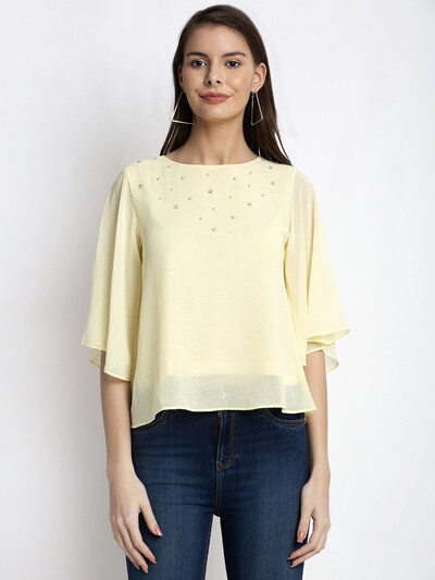Global Republic yellow latest georgette top