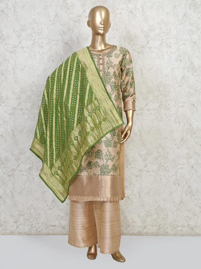 Gold colour raw silk printed kurti with pant suit