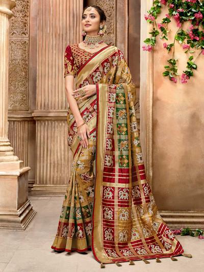 Gold pure patola silk saree for wedding