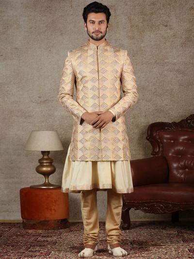Gold raw silk wedding wear raw silk sherwani