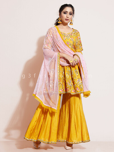 Gold sharara suit in cotton silk for wedding