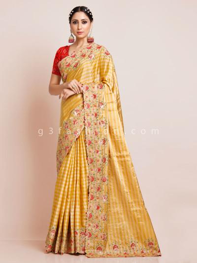 Gold silk wedding or reception function saree