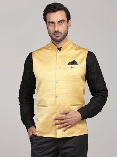 Gold solid terry rayon mens waistcoat