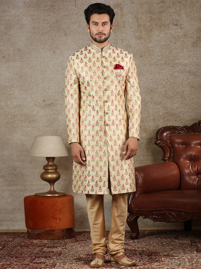 Gold wedding occasion raw silk sherwani
