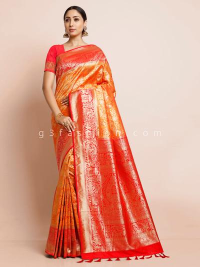 Golden designer pashmina banarasi silk saree