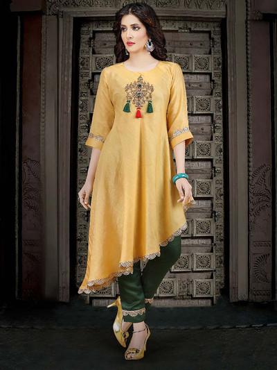 Golden hue cotton festive kurti