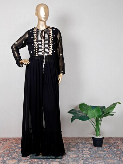 Gorgeous black pant suit for festive wear