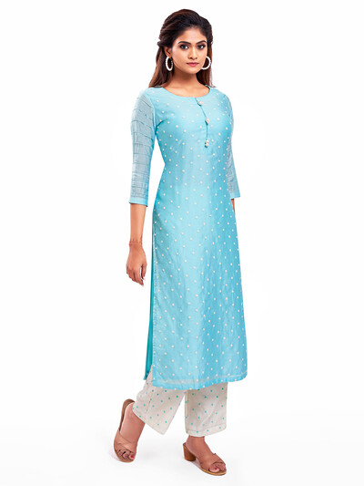 Gorgeous blue punjabi style festive wear salwar suit