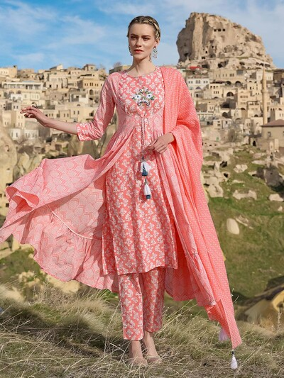 Gorgeous cotton festive functions pink pant suit