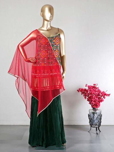Gorgeous green rawsilk wedding wear sharara suit